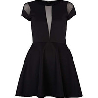 black mesh insert skater dress
