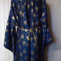 Deluxe Wizard Robe Costume Fancy Dress Up Merlin Magician Stars Halloween Size L