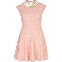 pink pearl collar skater dress