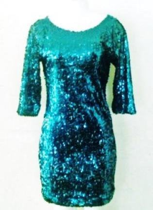 "Hunter Green Sequin Dress - 3/4"" Sleeve"