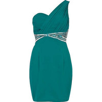 turquoise little mistress one shoulder dress