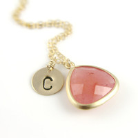 Monogram Necklace, Pink Agate Frame Briolette, Hand Stamped Disc Initial Bridesmaids Gift, Gold Filled, Customized Wedding Jewelry, Gemstone