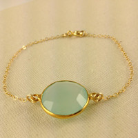Bezel Gemstone Bracelet, 24k Gold Vermeil, Aqua blue Chalcedony, Christmas gift, Fashion, Birthday Gift, Elegant, Bridesmaid Gift, Gold