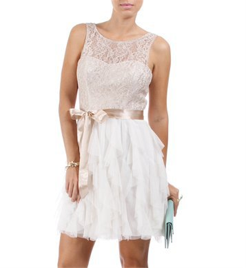 Offwhite/Champagne Lace Homecoming Dress