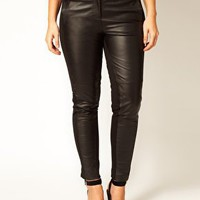 ASOS CURVE Exclusive Leather Panelled Trousers at asos.com