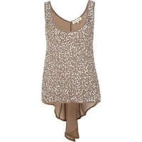 beige sequin dip hem chiffon back vest