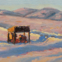 Chicken Coop in winter. Sunset and snow. Art by Brandy Cattoor. ACEO print of Colorado. Purple, orange blue, pink