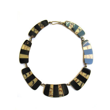 Vintage Bib Necklace, Ebony Black and Tortoise Inlay Brass Necklace, Reversible Handcrafted Brass Inlay, Tribal, Boho,  Avante Garde Chic