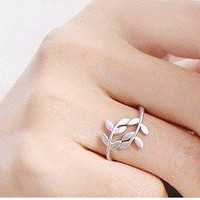 Silver Greek Leaf Wrap Ring