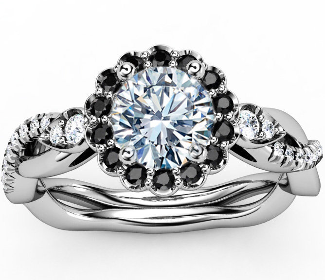 Engagement Ring Black Diamond Halo from MDC Diamonds