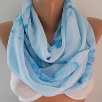 Sky Blue - Infinity Scarf Loop Scarf Circle Scarf -It made with good quality CHIFFON  fabric. Super Loop