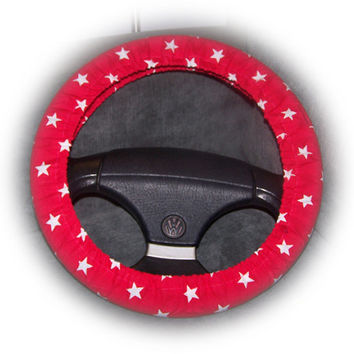 red steering wheel cover with white stars print cute Cotton fabric car