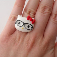 Hello Kitty Nerd ring // kawaii hello kitty nerd glasses red bow