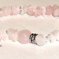"Bracelet:  Genuine Pink Rose Quartz   "" Heart Healer"""