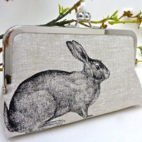 $49.00 Linen Enchanted Rabbit Clutch by jcarterhandmade on Etsy