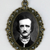 Edgar Allen Poe Necklace the raven gothic victorian portrait