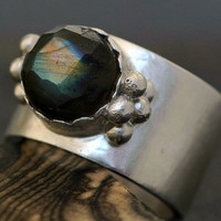 Rose-Cut Labradorite on Sterling Silver Ring- Custom Made