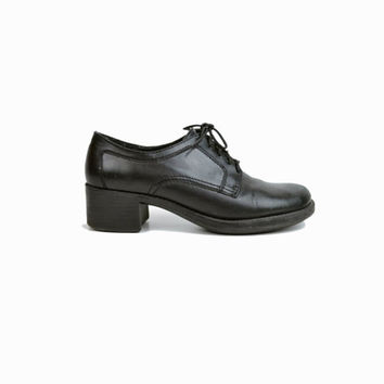Vintage Women's Stacked Heel Oxfords in Black Leather - 6