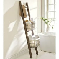 lucas reclaimed wood bath ladder storage | Pottery Barn
