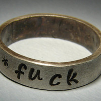 Mature F'ck You Handmade Sterling Ring