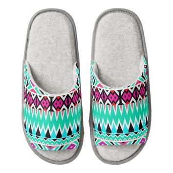 Mix #567 - Mint Tribal Pattern Slippers