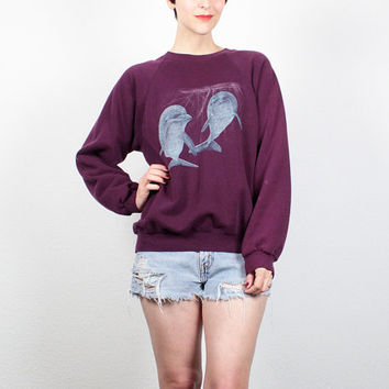 Vintage 90s Sweatshirt Burgundy Purple DOLPHIN Print 1990s Pullover Soft Grunge Screen Print Tshirt Novelty Print Sweater Jumper M Medium L