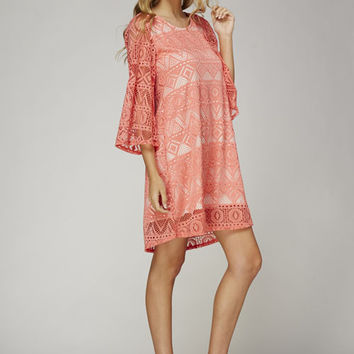 Netted Tribal LaceTunic Dress