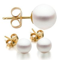 14K Yellow Gold 8-8.5mm White Freshwater Cultured Pearl Stud Earrings AAA Quality: Jewelry: Amazon.com
