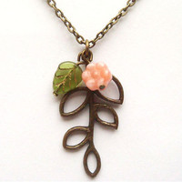 Antiqued Brass Leaf Czech Glass Flower Necklace