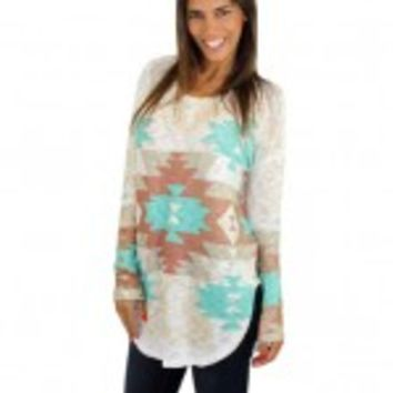 Ivory And Mint Tribal Print Top