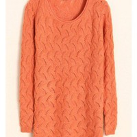 Scoop Slim Long Sleeve Autumn Hollow Orange Women Knitting Sweater One Size@WH0065o $15.55 only in eFexcity.com.