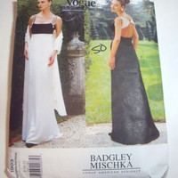 Vogue Pattern Badgley Mischka womans evening gown size 8 10 12 formal prom dress 1996