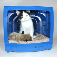 Pet Bed Furniture Blue - Recycled Upcycled Repurposed TV Pet Bed