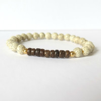 White Lotus Seed Yoga Inspired Bracelet with Coconut Heishi - Yoga Jewelry, Tribal Beads, India Inspired
