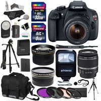Canon EOS Rebel T5 Digital SLR Camera Body with EF-S 18-55mm IS II f/3.5-5.6 Lens + .43x High Definition Wide Angle Lens With Macro Attachment + 2.2X High Definition Telephoto Lens Travel Kit + 40 GB Storage + Deluxe 57-Inch Photo/Video Tripod with Tripod