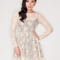 Motel Cillia Sequin Skater Dress in Nude and Black