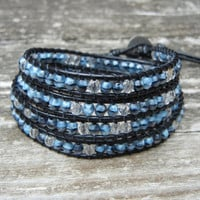 Beaded Leather 4 Wrap Bracelet with Gray and Black Porphyr Czech Glass Beads