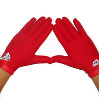 Ladies Sexy Chic Bright Red Altered Womens Winter Accessory Bow Gloves