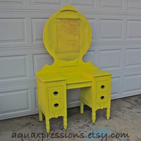 Vintage Painted Vanity /Twist of Lime Yellow /Custom Paint to Order