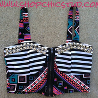 Studded Bustier Top MEDIUM Stripes Tribal Print Silver Studs