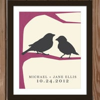 Love Birds custom wedding print with date