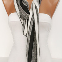 Black and White Cozy Cotton Scarf- Shawl Headband