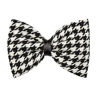 black dogtooth print bow hair clip