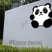 Sad BW Panda Macbook small 2 color Vinyl Decal Sticker | EclecticGallery - Techcraft on ArtFire