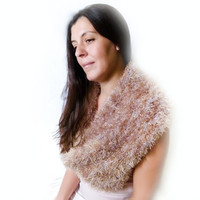 Earthy Crochet heather cowl scarf. Grey brown shades  faux fur neckwarmer, fuzzy shawl, cozy shoulder wrap