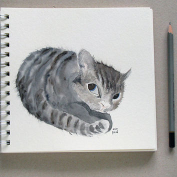 Cat Portrait fine art print - cute kitten watercolor illustration print