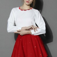 Red Lips on White Crepe Top