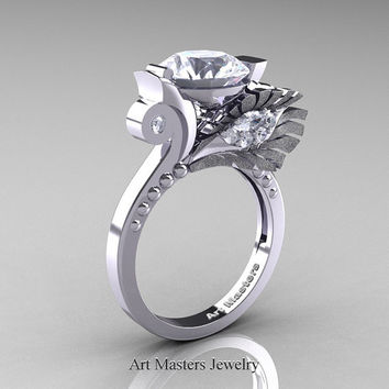 High Fashion Nature Inspired 10K White Gold 3.0 Ct White Sapphire Marquise Eye Engagement Ring R359S-10KWGWS