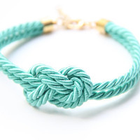 Small Mint silk Knot Bracelet - 24k gold plated