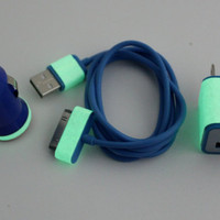 Glow in the dark iphone charger with blue wall adapter & blue car charger